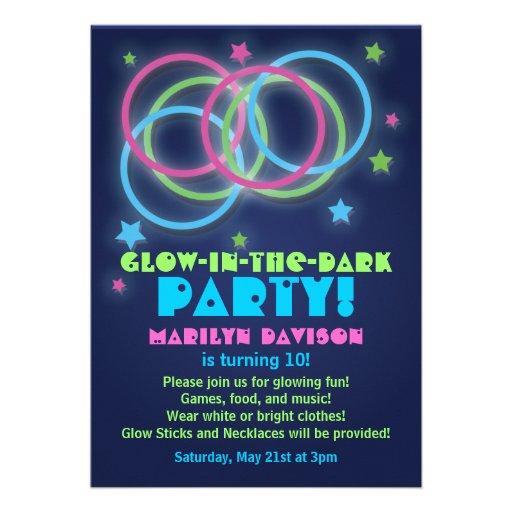 Personalized Glow In The Dark Invitations