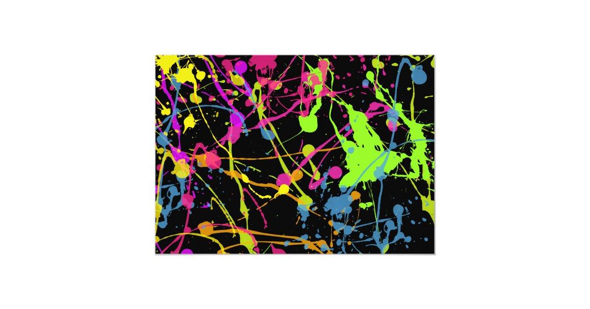 Glow Neon Paint Splatter Birthday Party Invitation Zazzle