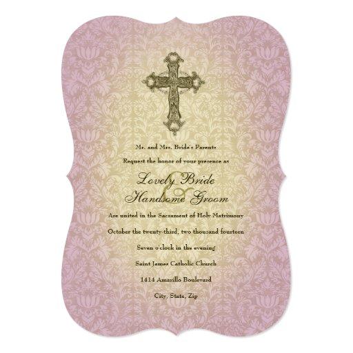 Catholic Wedding Invitations: Glowing Orchid Catholic Cross Wedding Invitation