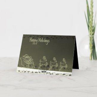 Glowing Santa & Reindeer card