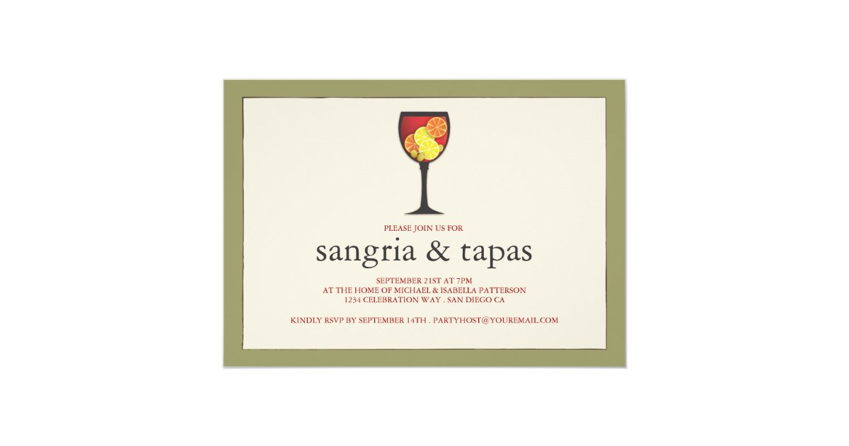 Sangria Wedding Invitations: Goblet With Fruit Sangria & Tapas Party Invitation