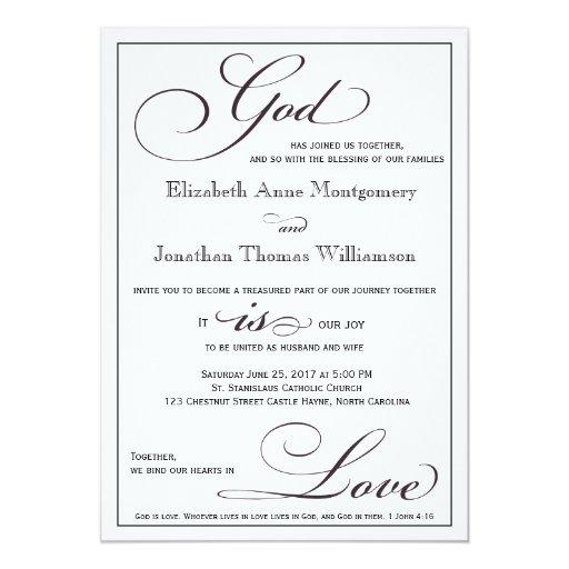 Best Bible Verse For Wedding Invitation: God Is Love Christian Script Wedding Invitation