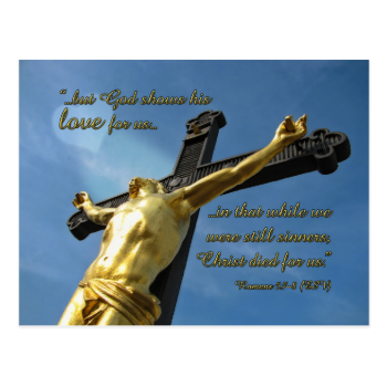 God Loves You Romans 5:7-8 Bible Verse Postcard