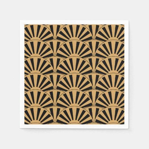 Black And Gold Beverage Napkins: Gold And Black Art Deco Fan Flowers Motif Standard