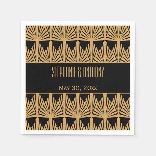 Black And Gold Beverage Napkins: Gold And Black Art Deco Pattern Wedding Standard Cocktail