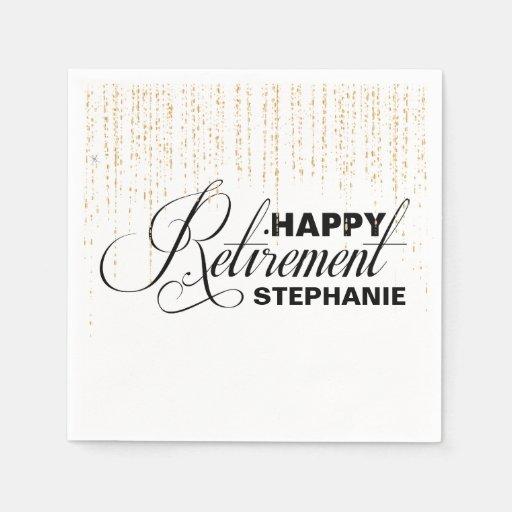 Black And Gold Beverage Napkins: Gold And Black Retirement Party, Custom Napkins Standard