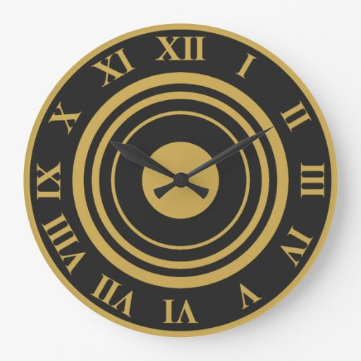 Gold And Black Roman Numeral Wall Clock