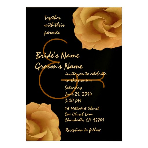 Gold and Black Roses Wedding Template