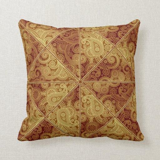 Gold And Burgundy Paisley Pattern Pillow Zazzle