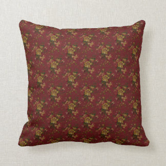 Gold And Burgundy Rose Pattern Throw Pillows
