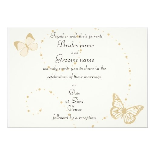 Butterfly Themed Wedding Invitations: Gold And Ivory Butterfly Theme Wedding Invitations 13 Cm X