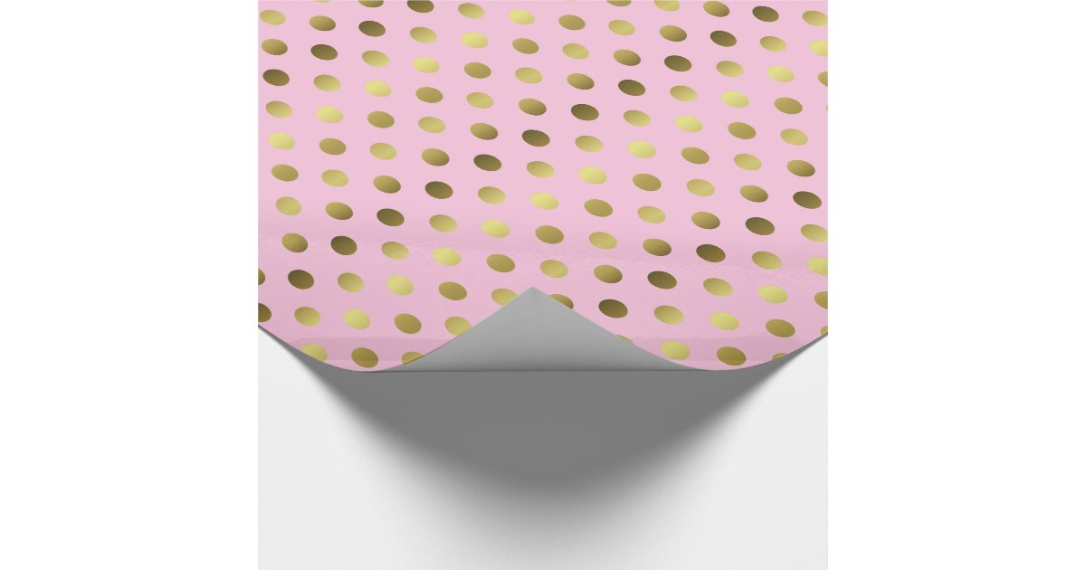 Gold And Pink Polka Dot Wrapping Paper Zazzle