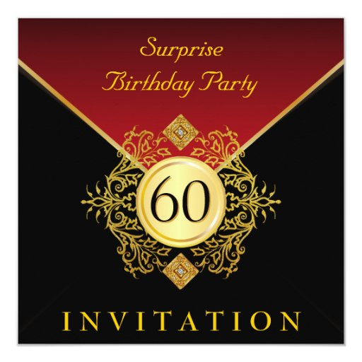 gold black royal red 60th birthday surprise party