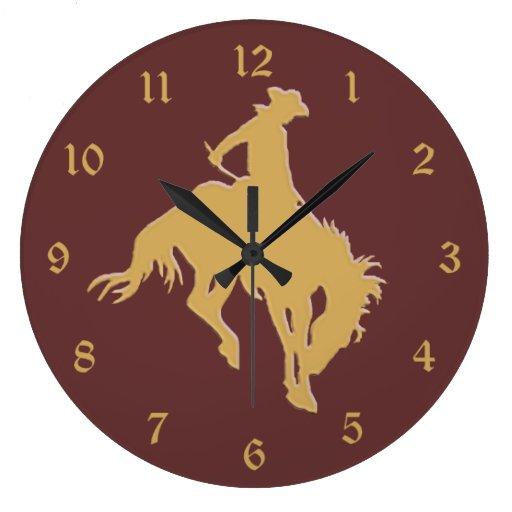 Gold Cowboy Bucking Horse Large Clock Zazzle