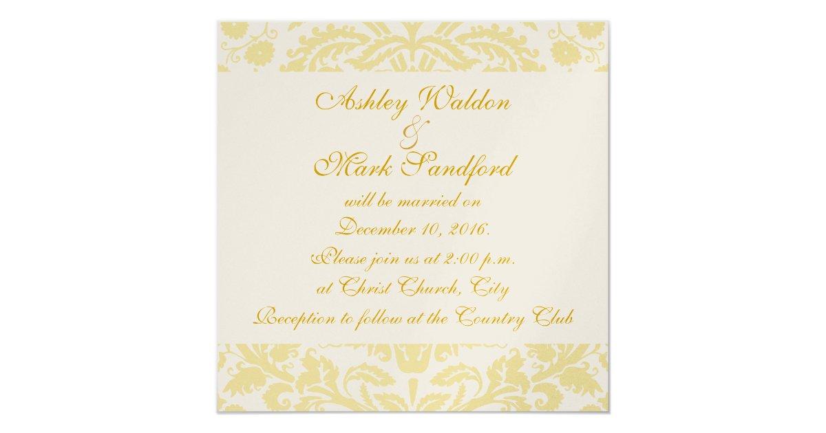 Cream And Gold Wedding Invitations: Gold Cream White Floral Damask Wedding Invitation