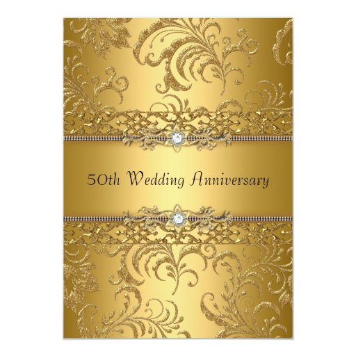 Flower For 50th Wedding Anniversary: Gold Floral Swirl 50th Wedding Anniversary Invite