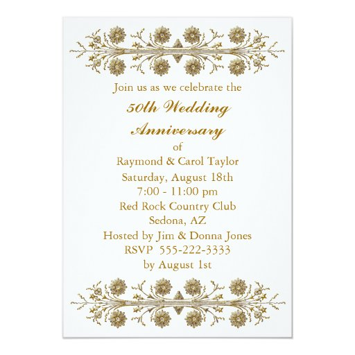 Flower For 50th Wedding Anniversary: Gold Flowers 50th Wedding Anniversary Card