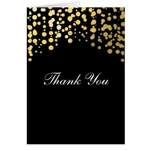 Gold Foil Black Confetti Wedding Thank You Card