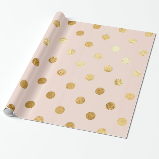 Gold Foil Polka Dots Pattern Wrapping Paper Blush Zazzle