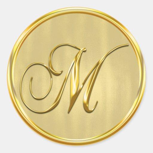 Round Wedding Invitation Label 1: Gold Formal Wedding Monogram M Seal Invitation Classic