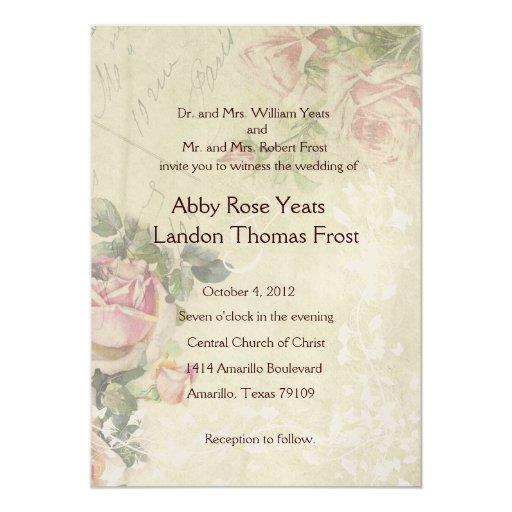 French Vintage Wedding Invitations: Gold French Vintage Rose Wedding Invitation