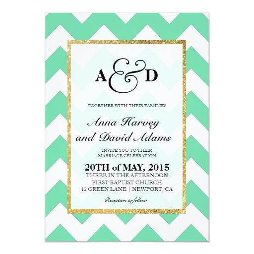 Mint Invitations Wedding: Gold Glitter Mint Green Chevron Wedding Invitation