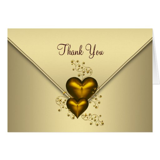 gold hearts gold thank you cards  zazzle