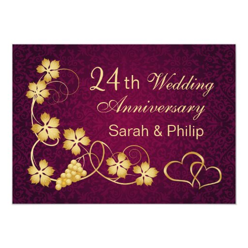 24 Wedding Anniversary Gift: Gold Leaves, Hearts 24th Wedding Anniversary Card