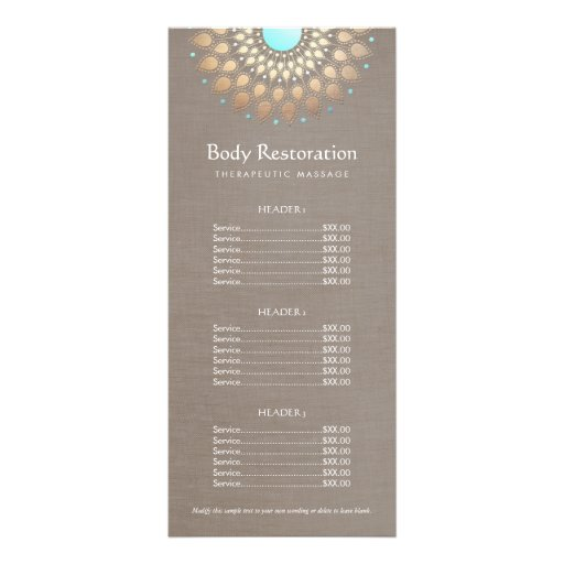 Gold lotus massage therapist price list rack card zazzle for Massage price list template