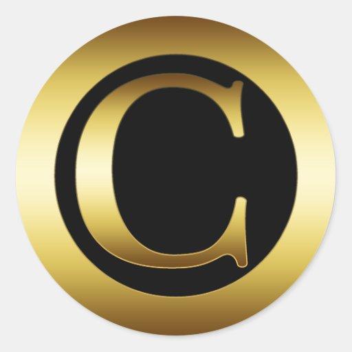 gold monogram letter c classic sticker zazzle