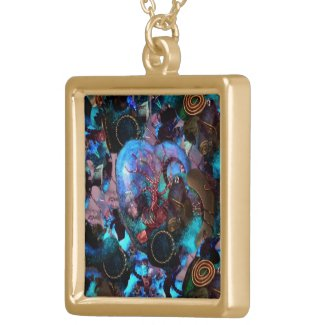 Gold Necklace, Orgonite Digital Art, Jewelry