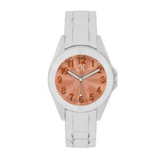 Gold Peach Monogrammed Watches for Women