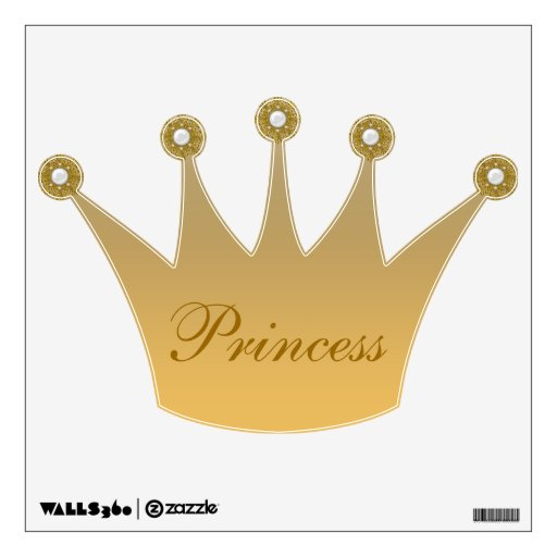 Gold Princess Crown & Jewels Wall Decal | Zazzle Gold Princess Crown