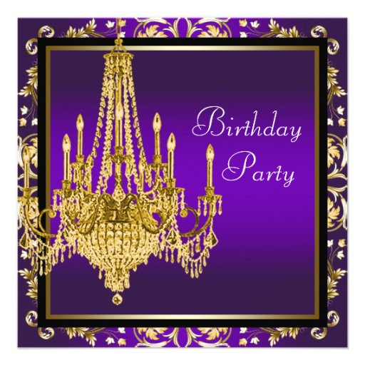 personalized gold purple birthday party invitations