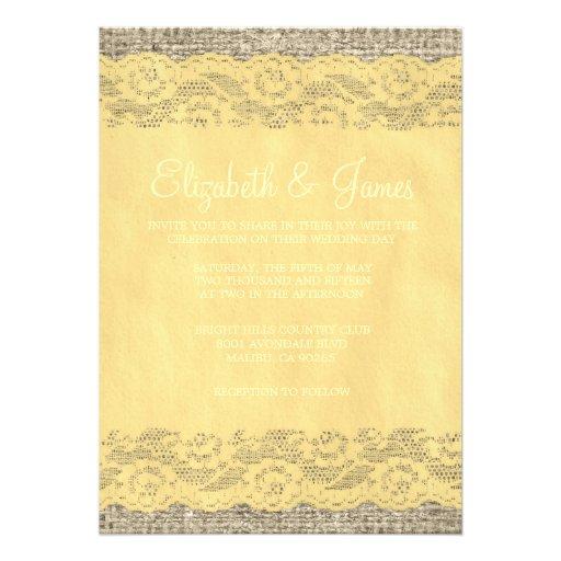 "Custom Rustic Wedding Invitations: Gold Rustic Lace Wedding Invitations 5"" X 7"" Invitation"