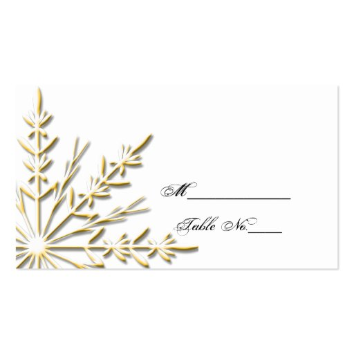 gold snowflake wedding place card business card template. Black Bedroom Furniture Sets. Home Design Ideas