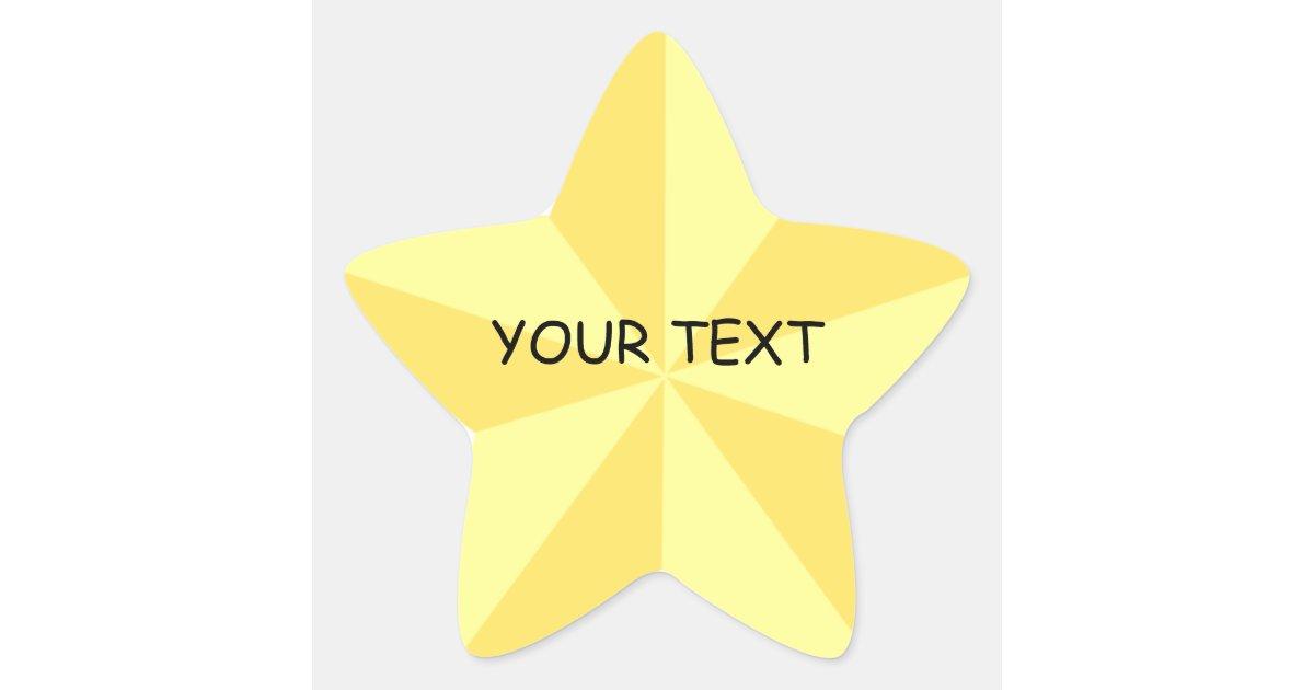 Gold Star Star Shape Sticker Template