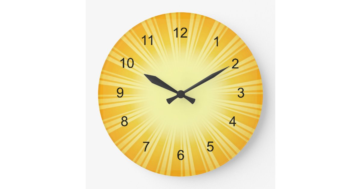 Gold Sunburst Design Wall Clock Zazzle