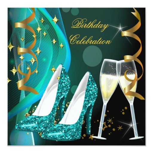 Gold Teal Glitter Shoes Champagne Birthday Party Invitation