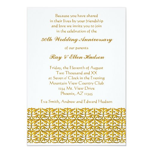Wedding Anniversary Invitation Message: Gold Trim 50th Wedding Anniversary Invitations