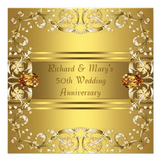 Flower For 50th Wedding Anniversary: Gold Victorian Flowers Gold 50th Anniversary 5.25x5.25