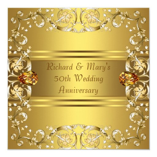 Flower For 50th Wedding Anniversary: Gold Victorian Flowers Gold 50th Anniversary Invitation