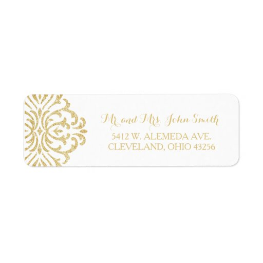 Gold Vintage Glamour Elegance Return Address Label