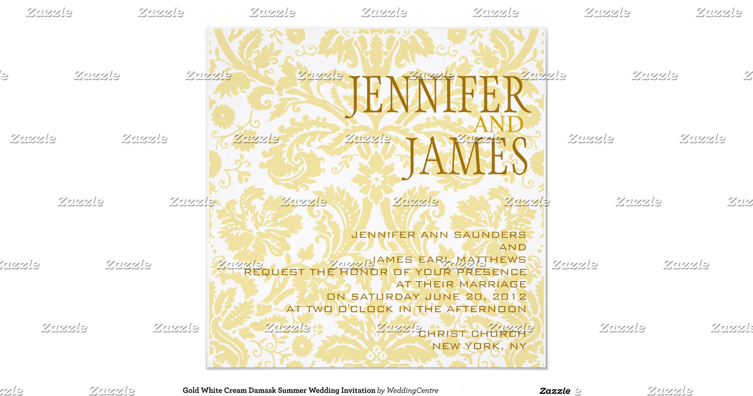 Cream And Gold Wedding Invitations: Gold_white_cream_damask_summer_wedding_invitation