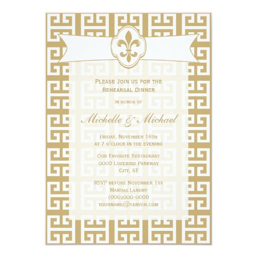 Gold White Fleur De Lis Greek Key Wedding Event 5x7 Paper