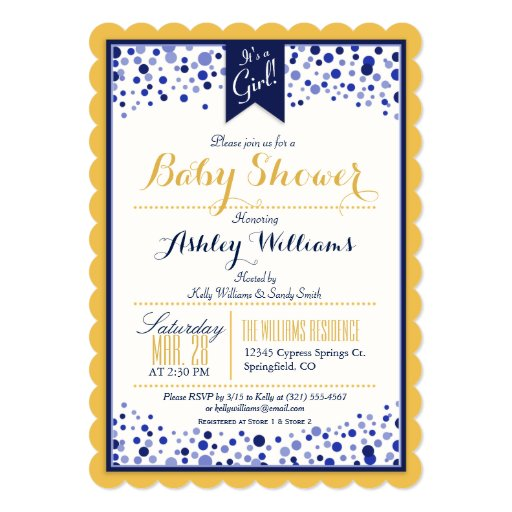 Gold Yellow, White, & Navy Blue Baby Shower 5x7 Paper