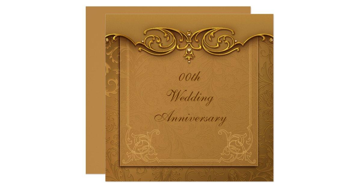 Golden Wedding Anniversary Invitations: Golden 50th Wedding Anniversary Party Invitation