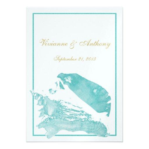 Marine Wedding Invitations: Golden And Aqua Marine Seashell Wedding Invitations