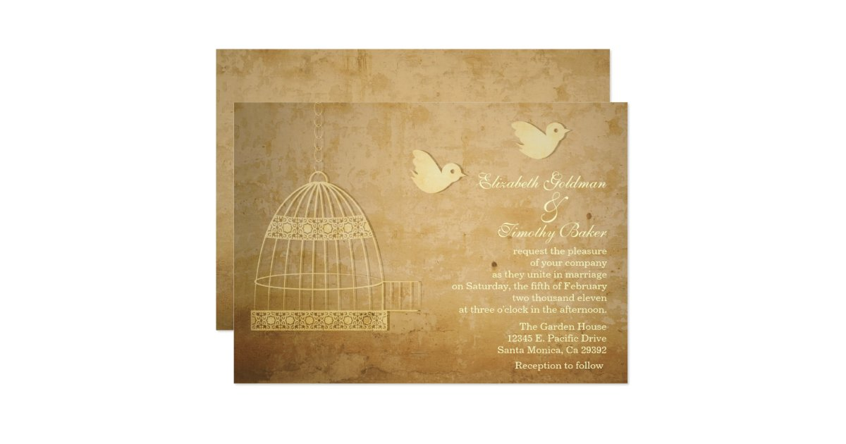 Wedding Invitations Birdcage: Golden Birdcage Wedding Invitation