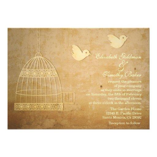 "Wedding Invitations Birdcage: Golden Birdcage Wedding Invitation 5"" X 7"" Invitation Card"